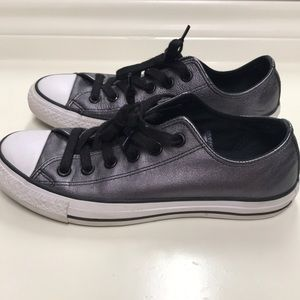 Black Metallic Leather Converse Shoes